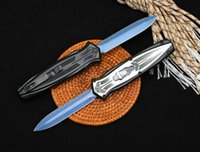 Hot! Automatic Tactical Knife 440C Double Edge 3D Pattern Blade Zn-al Alloy Handle Outdoor EDC Pocket Knives With Nylon Bag