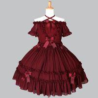 Themenkostüm Hohe Qualität 2021 Rotes und Schwarzes Slash-Nackenbogen Gothic Lolita Kleid Kostüme für Frauen