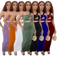 여자 두 조각 드레스 여름 여자 패션 섹시한 중공 원 숄더 주름 솔리드 컬러 민소매 조끼 치마 양복 S-XXL 9668