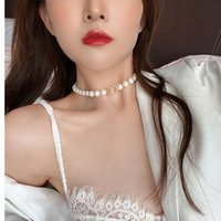 necklace French CD pearl summer niche freshwater neck chain Hepburn style Choker pig nose