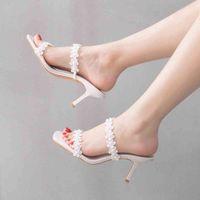 Sandals Crystal sandals sexy female queen lady summer designer high heels white wedding shoes stiletto lace ERLK