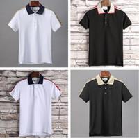 2021 Итальянский бренд Футболка дизайнер весна Летний отворот с короткими рукавами сплошной цветной писем печатает мода повседневная буква печатная рубашка