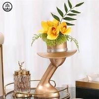 Bao Guang Ta Moderne Abstrait Fille Humain Head Vase Art Séché Fleur Arrangée Idées Résine Artisanat Décoration de luxe R6224