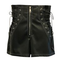 Pantalones cortos para mujer Lunoakvo Est Sexy PU Mujeres con estilo Vendaje Hollow-Out Zipper Moda Fondos de moda