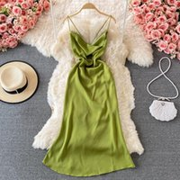 Casual Dresses Gagaok Sexy Formal Women 2021 Summer Office Lady A-LINE Backless Square Collar Chiffon Elegant Spaghetti Strap Dress