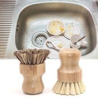 Handheld Wooden Brush Kitchen Chores Rub Clean Tool Sisal Palm Dish Wood Cleaning Brushes WLL125