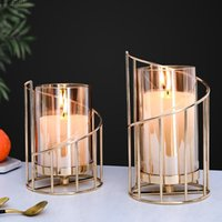 Candle Holders Romantic Metal Glass Holder Dining Holiday Party Decoration Art Wrought Iron Wedding Table Centerpieces