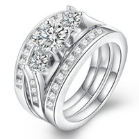 Wedding Rings 3pcs set Classic Female White Crystal Engagement Ring Bridal Promise Sets For Women Fine Boho Jewelry Accessories