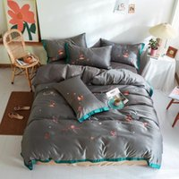 Bedding Sets MICHIKO Home Textile Cartoon Simple Style Quilt Cover Bed Sheet Pillowcase Solid Color Soft Cotton Double Four Piece Set