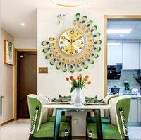 Большие 3D золотые алмазные павлин настенные часы металлические часы для дома украшения гостиной DIY часов ремесел украшения подарок
