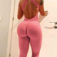 Tuta da donna sollevamento yoga tuta backless Bandaggio sportivo Pagliaccetto Un pezzo Playsuit senza maniche Textured Gym Body Body 50S4 #