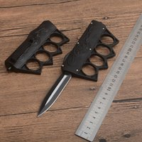 Skull Micro Knuckle Duster Ring Tactical Folding Knife Automatic Self Defense Outdoor Camping Hunting Survival Pocket Utility EDC Tools