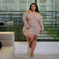 Fat Woman Sexy Club Crystal Beaded Wed Sheer Plus Size Dress African Dashiki Elastic Big Women Ladies Long Sleeve Bodycon Short Party Dresses Womens