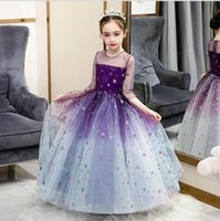 Girl's Dresses Purple Lace Flower Girl Dress For Wedding Sequin Tulle Evening Ball Gown Pageant Kids First Communion Party Outfit