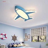 Tavan Işıkları Yaratıcı Karikatür Uçak Mavi Pembe LED Lamba Çocuklar Için Yatak Odası Çalışma Anaokulu Ev İç Uzaktan Aydınlatma Armatürleri