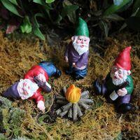 Feiras Mini Gnome Figurines Resina Fada Engraçado Gnomos Miniature Gnomes Elf Figura Micro Jardim Dwarf Kit para Terrário
