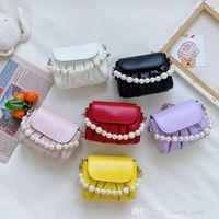 Children pearl princess handbags sweet fashion kids candy colors mini pleated messenger bag purse cute girls pearls chain crossbody one shoulder bags F575