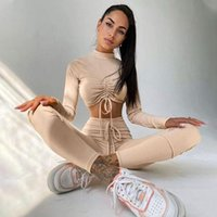 Women's Two Piece Pants Fashion Skinny Knitted Suit Woman Crop Tops + Set Sportswear Autumn Solid Long Sleeve Yoga Tracksuit Clothing 2021