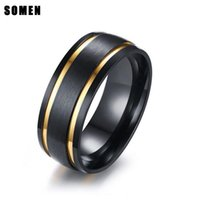 Wedding Rings 8mm Black Men Stainless Steel Ring Matte Finished For Engagement Band Men's European Style Jewelry Bague Homme