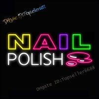 """Nägel Polnisch Schönheitssalon Indoor Display Dual Color Glass LED Neonzeichen Blau Rot 16 """"x 12"""""""