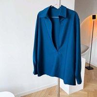 2021 Primavera New Design Design Camicie da donna Pullover Light Mature Manica lunga con scollo a V Shirt con scollo a V Donna Sovrapposizione di moda Top