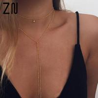 Zn zarte Frauen Halskette, y lariat halskette, zierlich gold perlenkette, choker halskette y0309