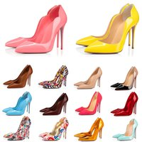 2021 red bottom heels rote untere Mode High Heels für Frauen Party Hochzeit dreifach schwarz nackt gelb rosa Spikes Pointed Toes Pumps Plattform Kleid Schuhe