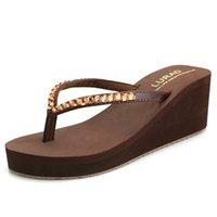 Slipper High Heel Crystal Flip-flops Summer Women's Non-Slip Beach Slippers Platform Slanted Fashion Clip