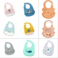 INS 50+ Styles Baby Bib Adjustable Animal Picture Waterproof Dripping Bibs Soft Edible Silicone Saliva Towel 3197 Q2