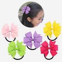 Hair Accessories Candy Colour Girl Bow-Knot Grosgrain Ribbon Ring Female Rubber Band Elastic Bands Bows Girl's Headware