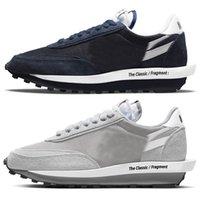 2021 Otantik Fragment Ayakkabı Gri Vaporwafle LD Waffle LDV Pamuklu Siyah Beyaz Yeşil Mavi Kırmızı Erkekler Kadınlar Açık Spor Sneakers Orijinal Kutusu