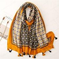 Fashion Women Retro Tassel Viscose Scarf Circle Dot Patchwork Hijab Shawls and Wraps Female Foulards Echarpe Designer 180*90Cm