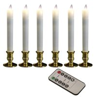 6Pcs Smokeless Flameless LED Candles Remote Control Electronic Candle Lights Wedding Party Decor Home Dinner Long Rod