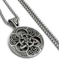 Ready To Ship Retail Celtic Knot Magic Both Sided Pendant Necklace Men's Stainless Steel Box Chain Jewelry