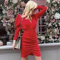 2021 Spring and Autumn Dress Ladies New Casual Full-sleeved Sexy Deep V-neck Pleated Solid Color Straight Knee Bag Hip Dress