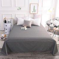 55 100% algodão cor pura folha plana conjunto de cama de cama roupa de cama de cama queen size / king size cinza preto branco cama
