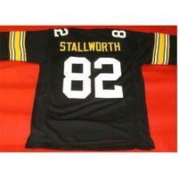 Goodjob Erkekler Gençlik Kadın Vintage Özel # 82 John Stallworth Siyah Futbol Forması Boyut S-5XL veya özel herhangi bir isim veya numara forması