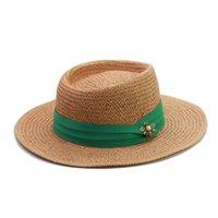 Nueva Moda Green Ribbon + Bee Beach Hats for Women Brim Amplio Papel Sol de gran tamaño Sombrero de gran tamaño Damas de verano UV Gorras de paja al por mayor C0305 Y0910