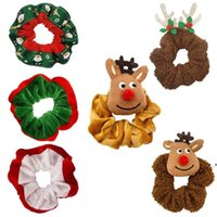 Weihnachten Elch Santa Grils Haarschleife Flannelette Große Darm Schöne Kinder Elastische Kopfschmuck Weihnachtsbaum Haarnadel OWB9641