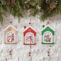 Christmas Tree Hanging Ornaments Wooden Handmade Crafts Santa Snowman Reindeer Pendant Drop Decorations FWA8708
