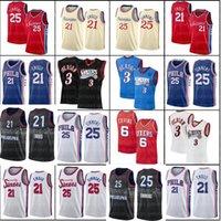 Philadelphia'76ers'jersey Allen 3 Iverson Joel 21 Embiid Ben 25 Simmons Männer Al 42 Horford Julius 6 Erntende Throwback baskablll