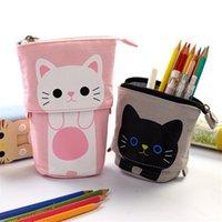 قابل للسحب الكرتون مقلمة حقائب لطيف القط قماش القرطاسية المنظم اللوازم المدرسية القلم حقيبة ماكياج التجميل DDA5890