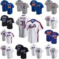 12 프란시스코 린더 새로운 20 피트 앨론소 48 야곱 Degrad York Mike Piazza Mets Noah Syndergaard Darryl 딸기 야구 유니폼 Z9