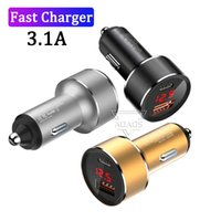 High Speed 3.1A Dual USB Car Chargers 2 Ports Type C PD Metal Alloy LED Display For IPhone Samsung Tablet PC with box
