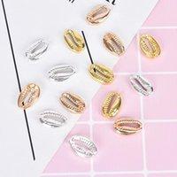 Encantos 10 pcs Shinning Gold / Prata Color Mar Shell Para As Mulheres Homens DIY Jóias Moda Pingente Handmade Colar Pulseira Achados