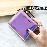 Fashion Women Wallet Wristlet Small Purses Thin Bag Short Vallet Ladies Female Korean Holographic 2021 Walet Slim Money Uoetg