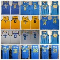UCLA Bruins Lonzo Ball Jersey 2 대학 농구 러셀 웨스트 브룩 0 빌 월튼 32 Reggie Miller 31 Zach Lavine 14 옐로우 블루 화이트