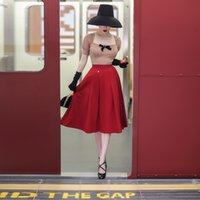 Le Palais 2021 Original Winter Vintage High-Taille Roter Regenschirm Gürtel Rock auf der Knie Frauen Baumwolle 4p2H