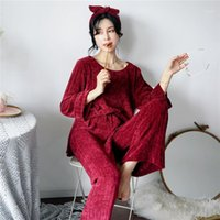 Mujer invierno flannel pijamas conjuntos 2 piezas cálidas pijamas grueso ropa de dormir mujer casual casual homewear1