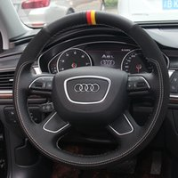 DIY El-Dikişli Deri Süet Araba Direksiyon Kapak Audi A4L A6L A8L A3 Q5L Q3 Q7 A5 A7 S8 TT